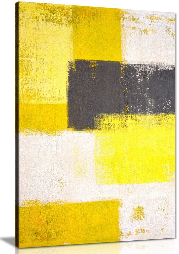 Modern Grey Yellow Abstract Painting Canvas