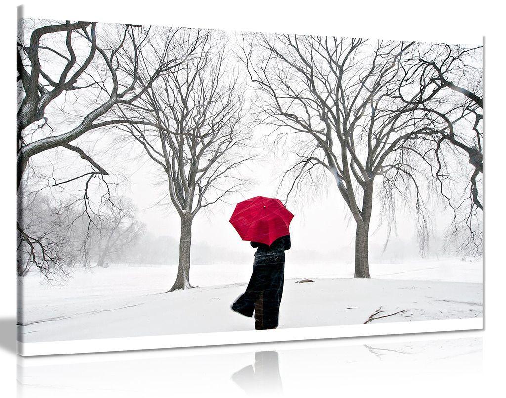 Coloured Red Umbrella In The Snow  Canvas