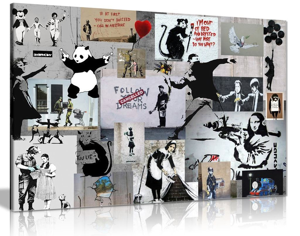 Banksy Montage Collage Canvas
