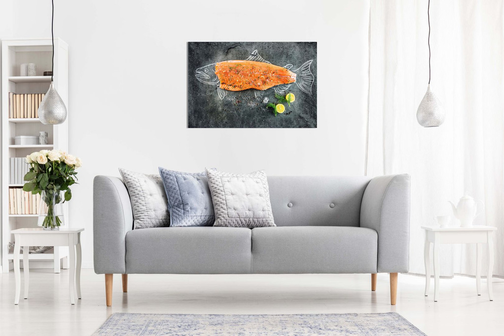 Fresh Fish Salmon Fishmonger Canvas