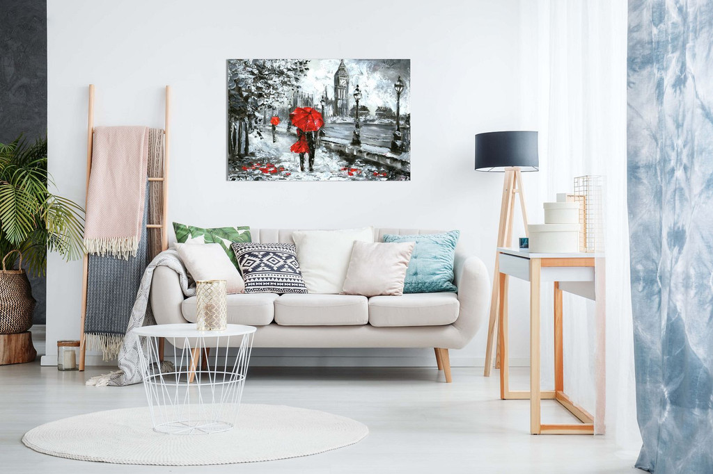 Oil Painting Street View Of London Artwork Black White And Red Big Ben Canvas