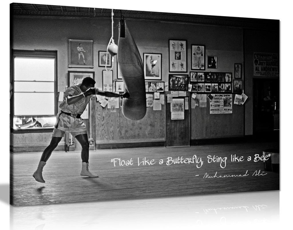 Black White Muhammad Ali Champion Quote Float Like A Butterfly Canvas
