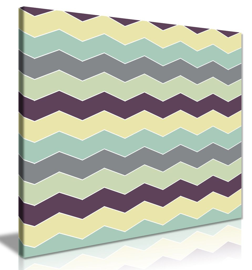 Abstract Retro Geometric Zigzags Canvas Print
