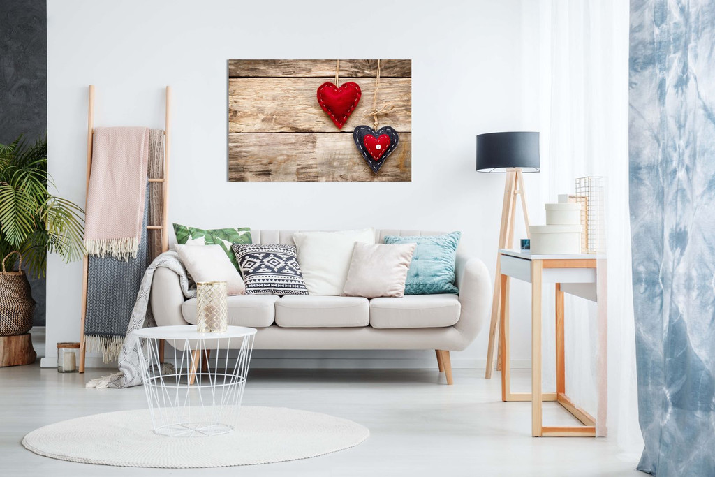 Red Love Hearts On Wood Canvas