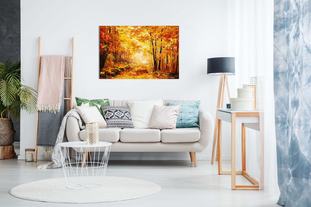 Abstract Vivid Oil Painting Colourful Orange Yellow Autumn Forest Leaves Canvas