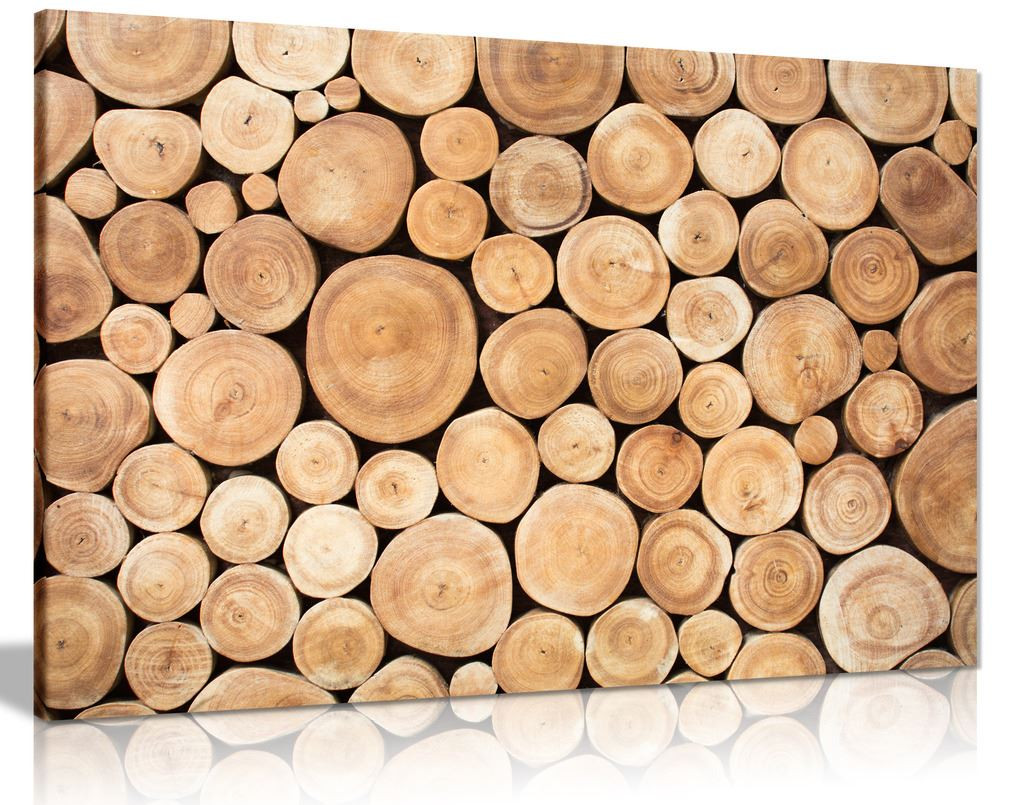 Wood Logs Canvas Wall Art Picture Print