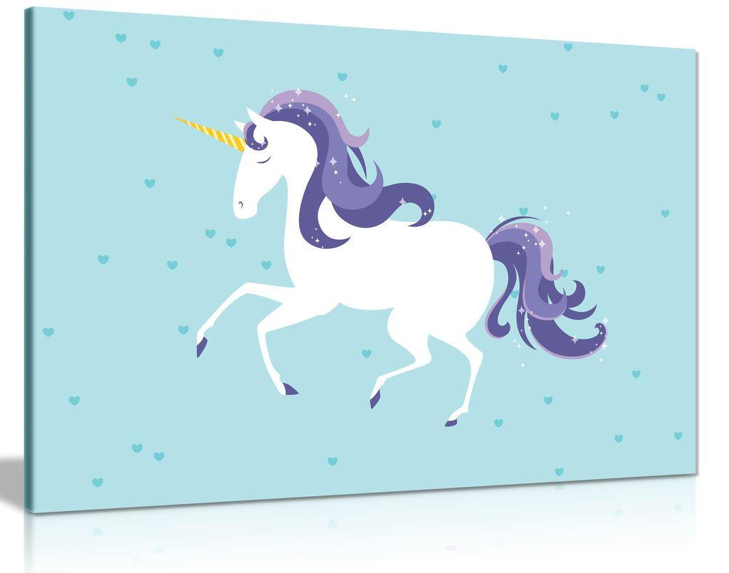 White Unicorn Canvas Wall Art Picture Print
