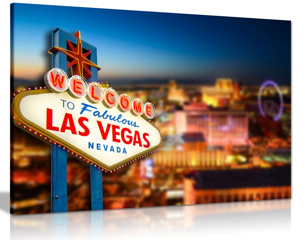 Welcome To Las Vegas Sign Canvas Wall Art Picture Print