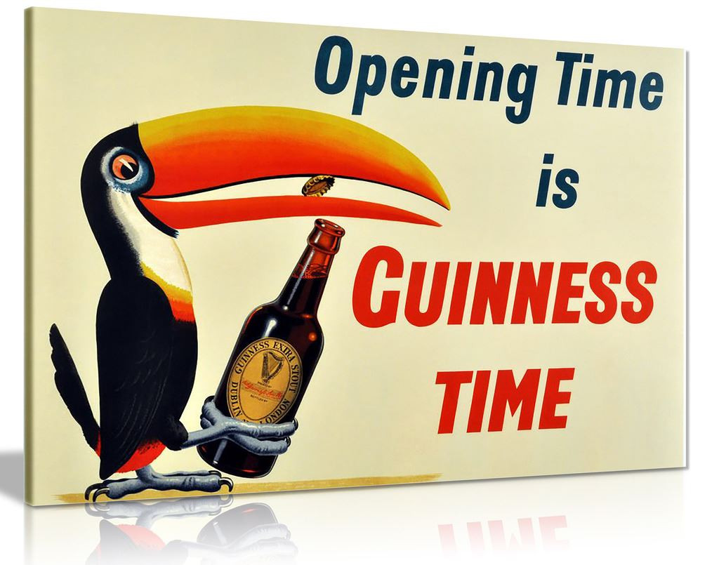 Vintage Opening Time Is Guiness Time Canvas Wall Art Picture Print