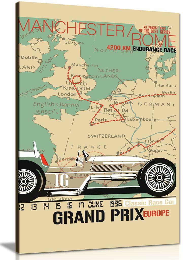Vintage Race Car Grand Prix Canvas Wall Art Picture Print