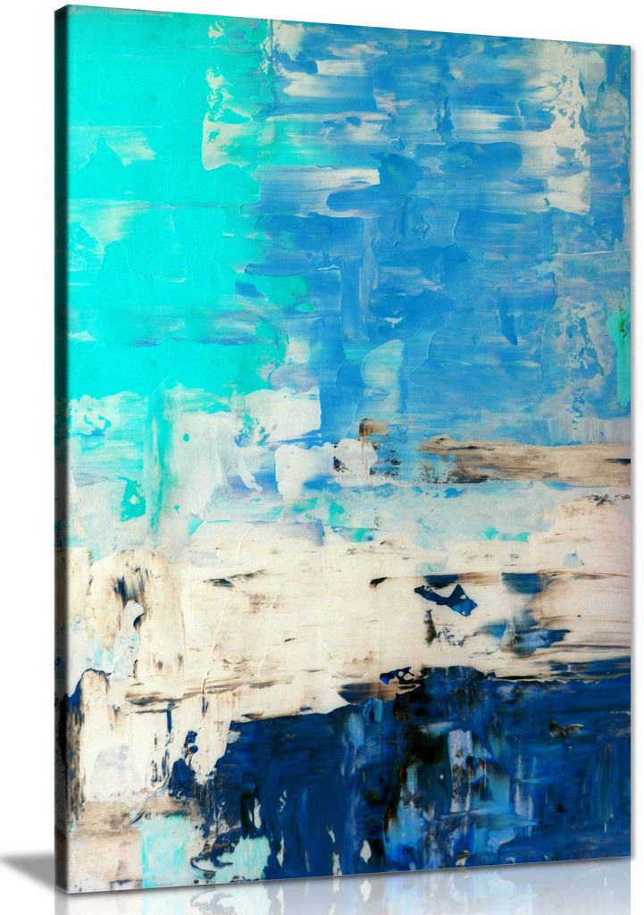 Turquoise Blue Abstract Art Painting Canvas Wall Art Picture Print