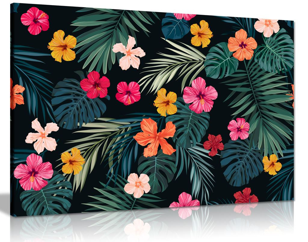 Tropical Jungle Leaves And Flowers Botanical Canvas Wall Art Picture Print