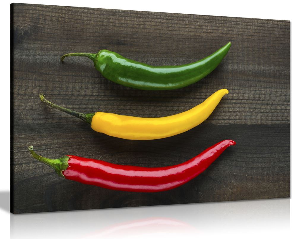 Three Jamaican Chilli Peppers Kitchen Canvas Wall Art Picture Print