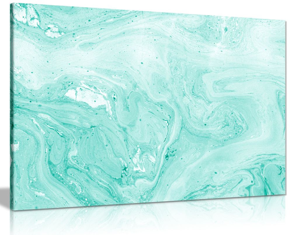 Teal Marble Canvas Wall Art Picture Print