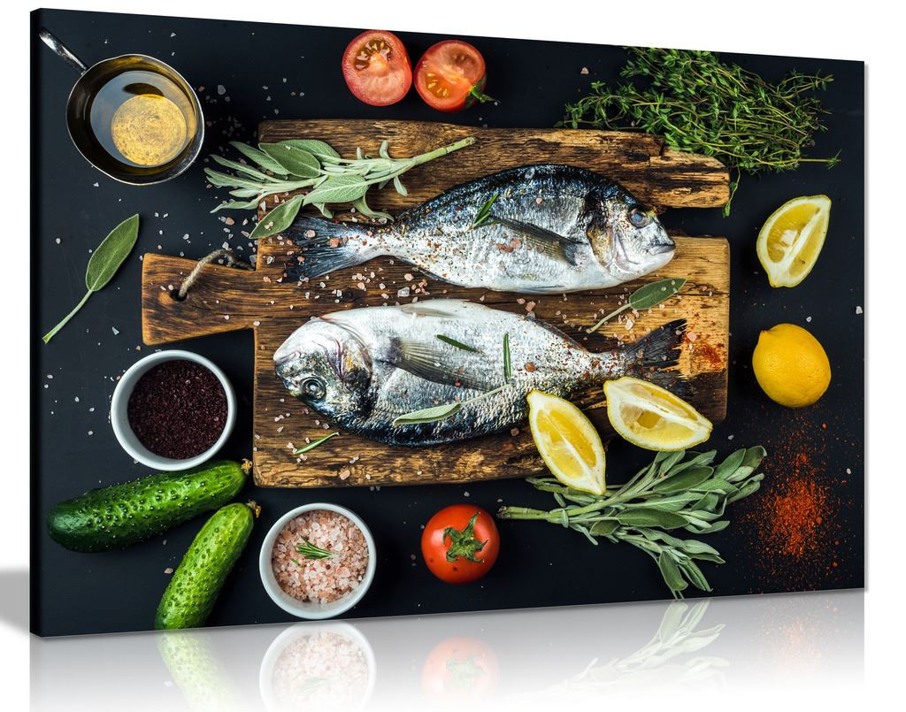 Sea Bream Fish Restaurant  Canvas Wall Art Picture Print