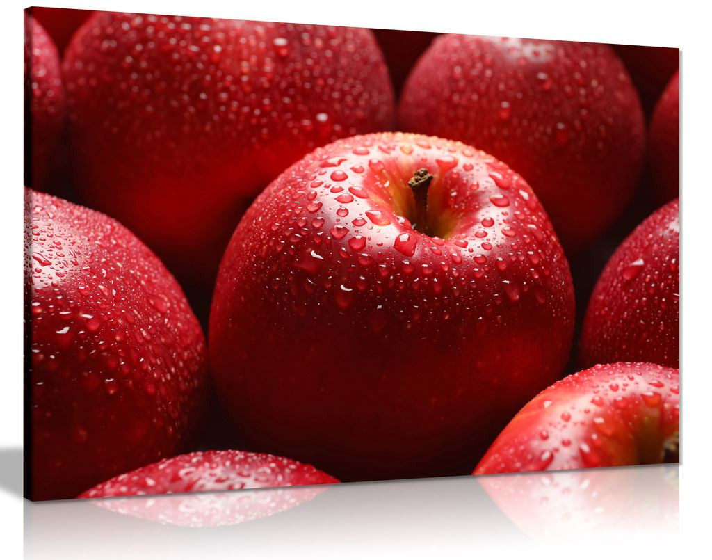Red Apple With Water Drop Food Canvas Wall Art Picture Print