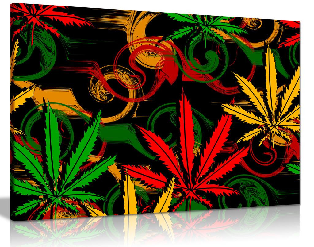 Rasta Marijuana Cannabis Black Background Canvas Wall Art Picture Print