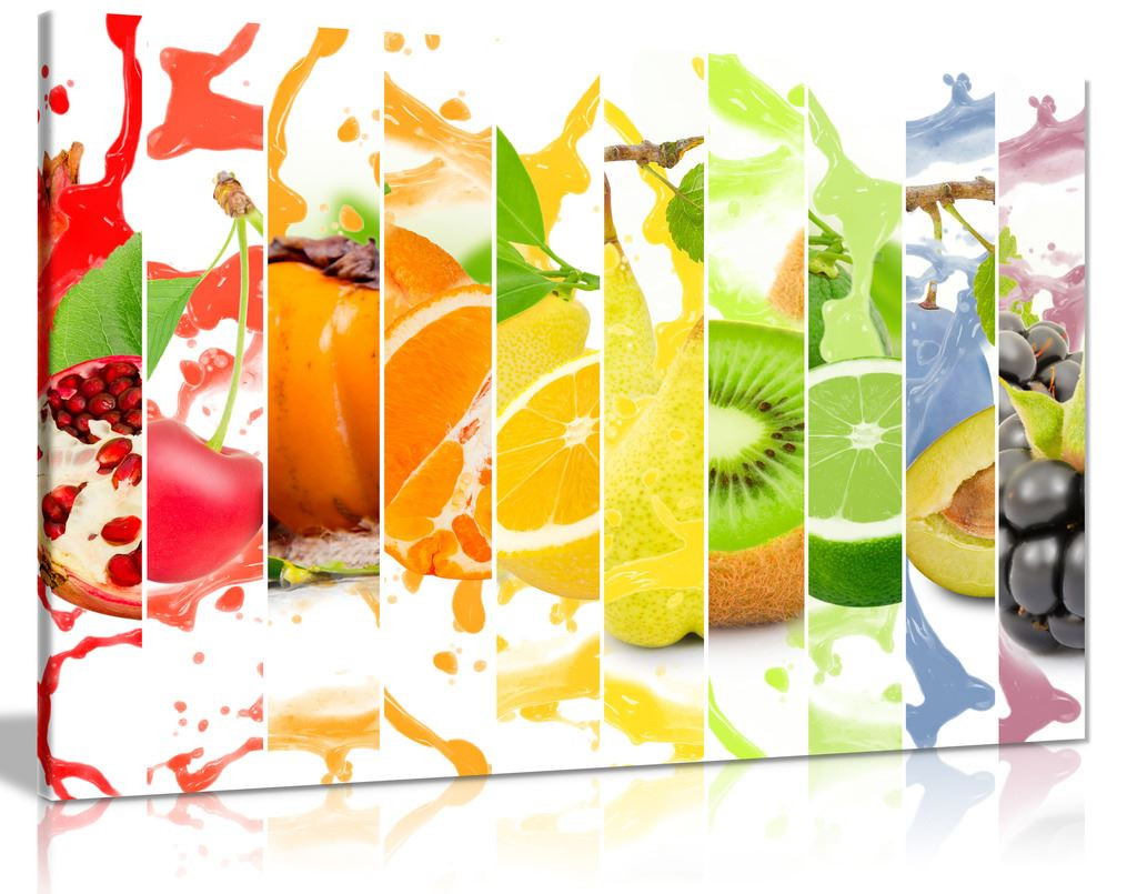 Rainbow Colourful Fruit Healthy Kitchen Canvas Wall Art Picture Print