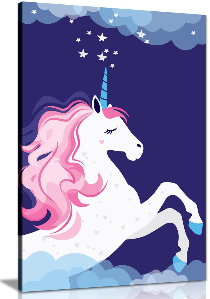 Pink Unicorn In Space Fairy Tale Canvas Wall Art Picture Print