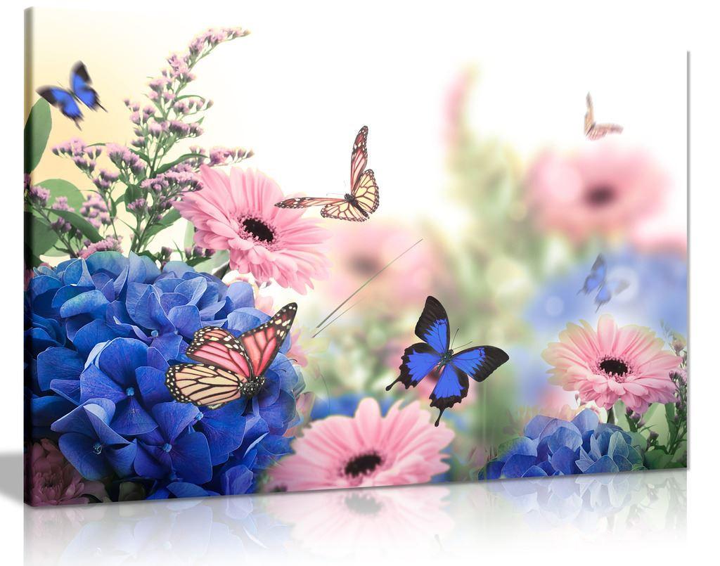 Pink Blue Flowers Butterflies Canvas Wall Art Picture Print