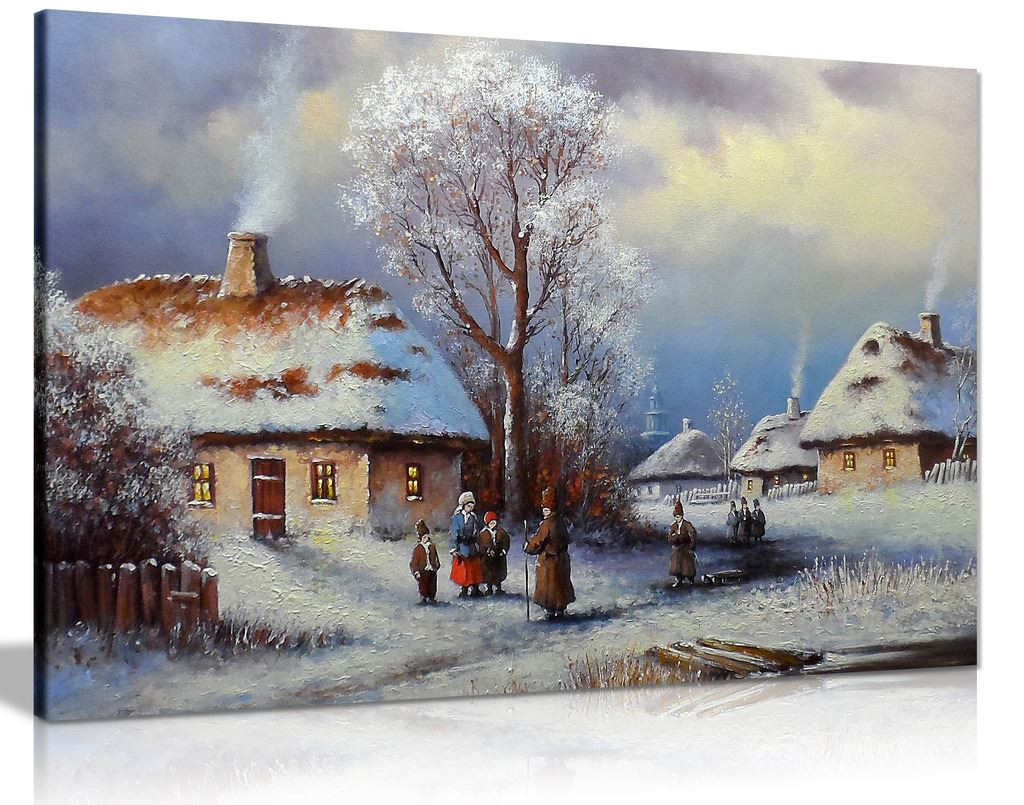 Old Winter Village Painting Canvas Wall Art Picture Print