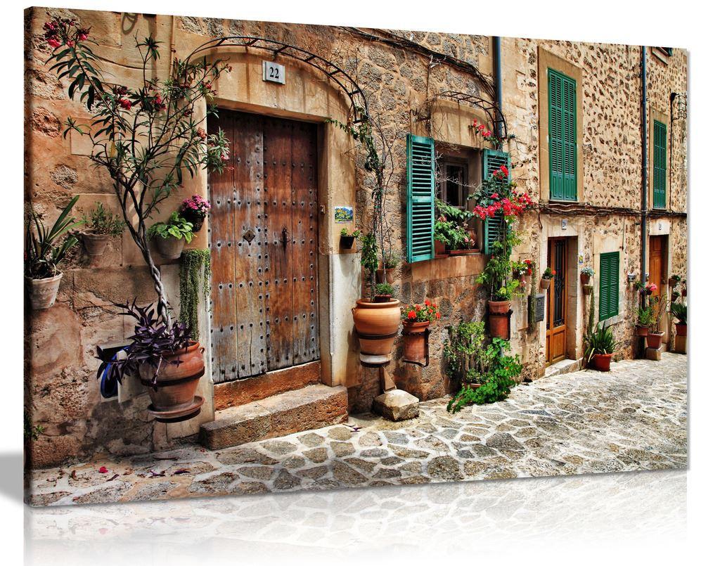 Old Mediterranean Towns Flower Door Windows Architecture Canvas Wall Art Picture Print