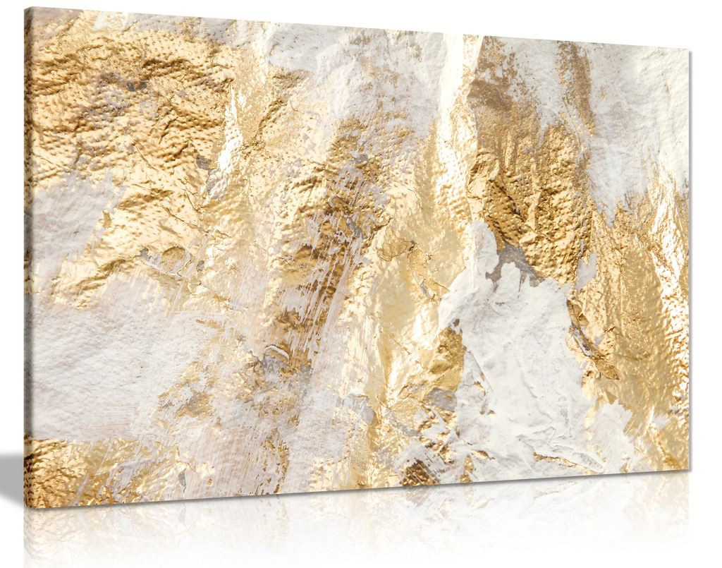 Modern White And Gold Brush Canvas Wall Art Picture Print