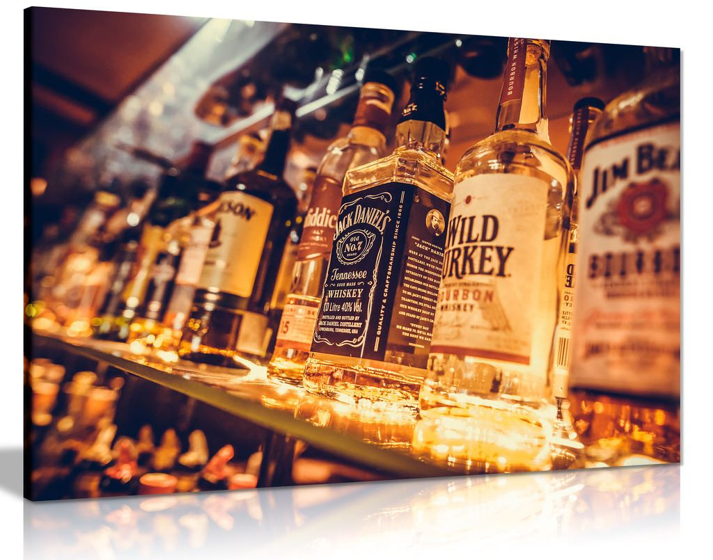 Man Cave Liquor Bottles Canvas Wall Art Picture Print