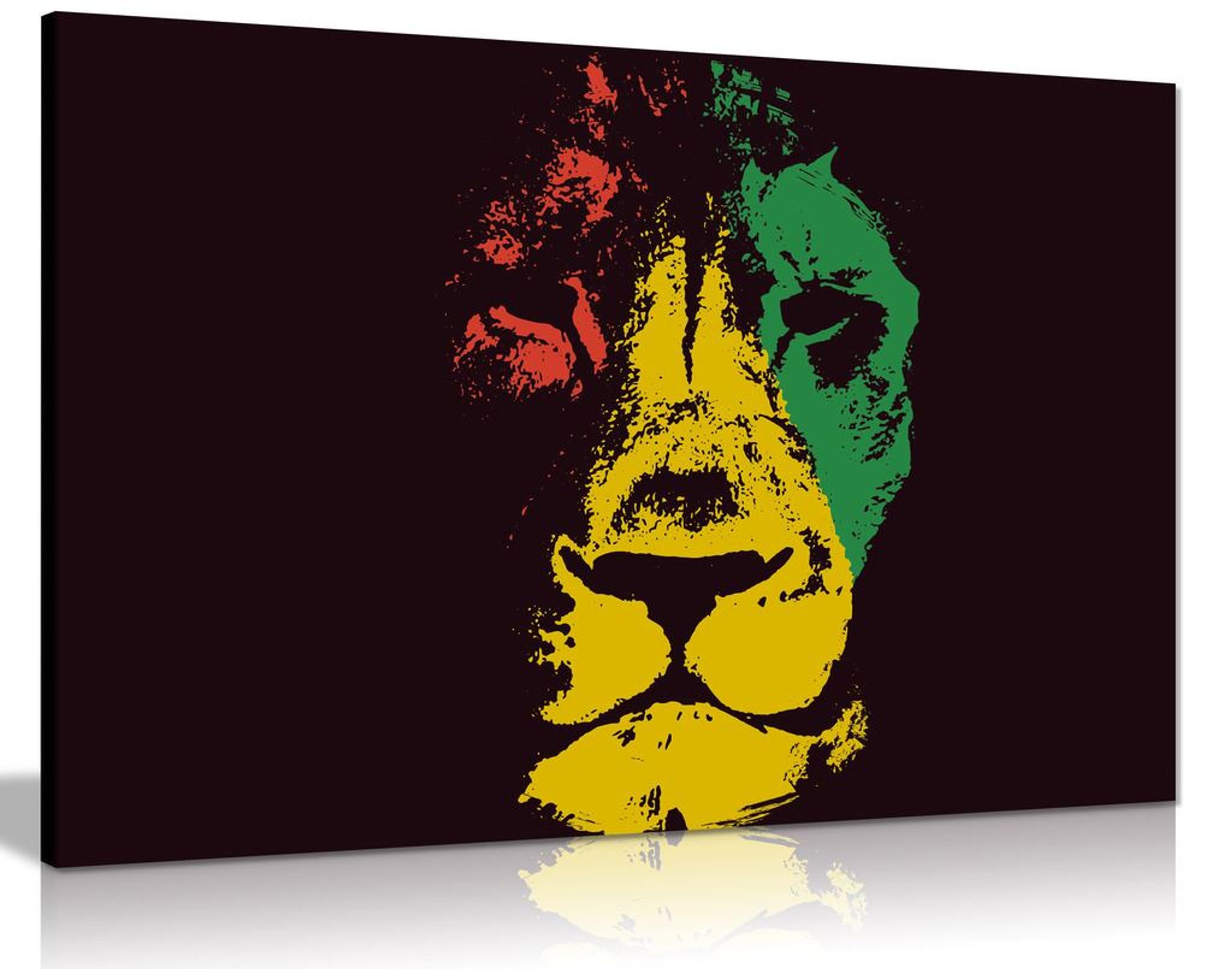 Jamaican Rasta Lion Canvas Wall Art Picture Print