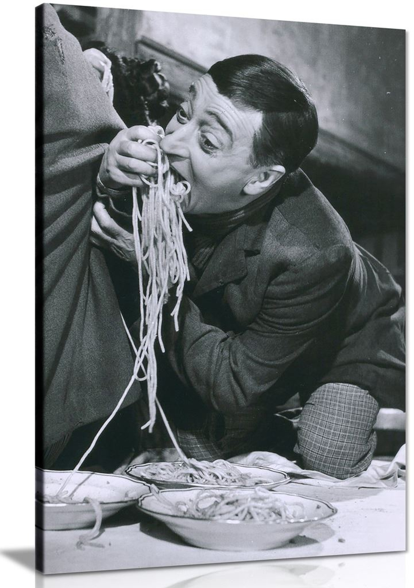 Funny Italian Eating Pasta Kitchen Decor Canvas Wall Art Picture Print