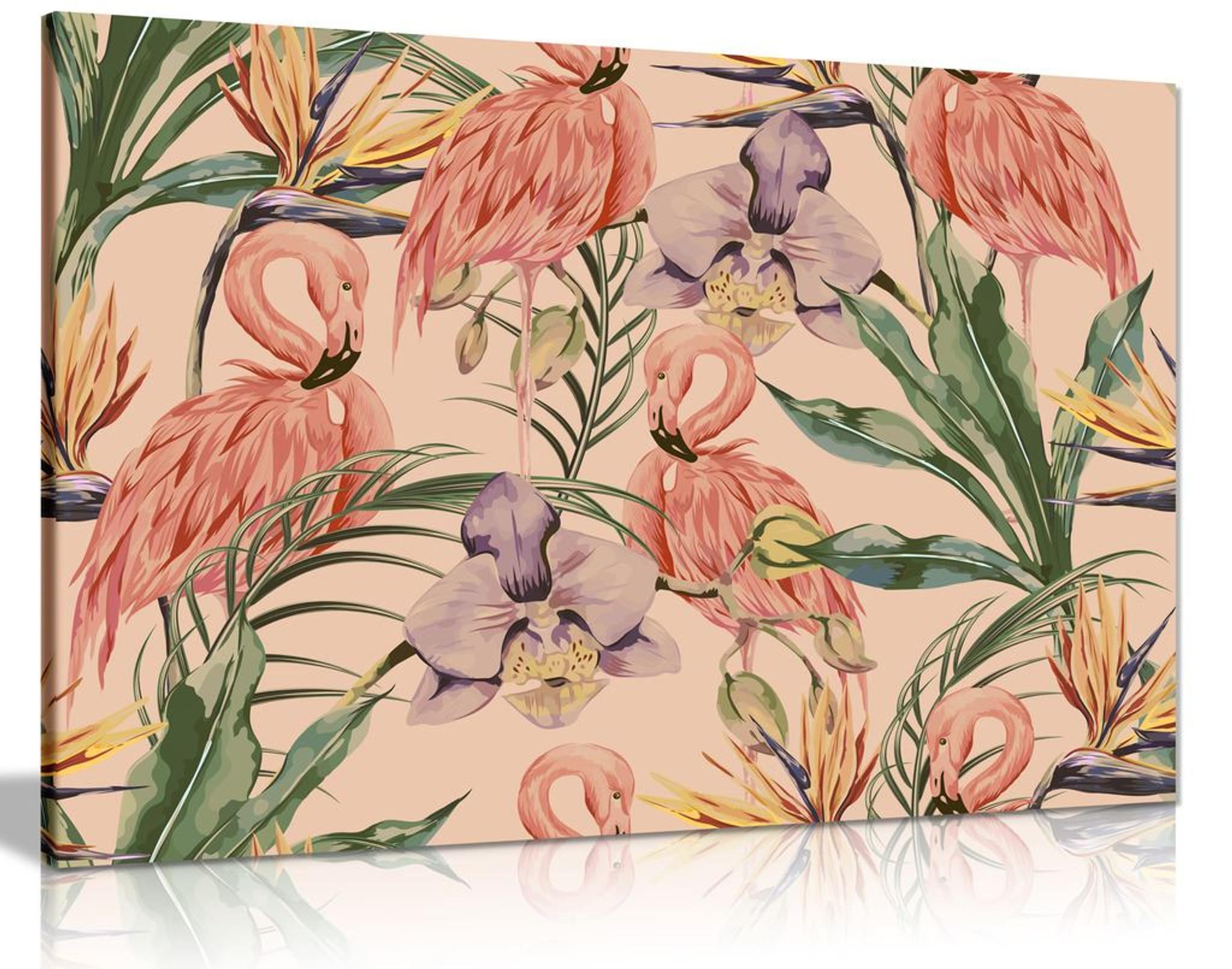 Exotic Botanical Jungle Vintage Boho Style Canvas Wall Art Picture Print