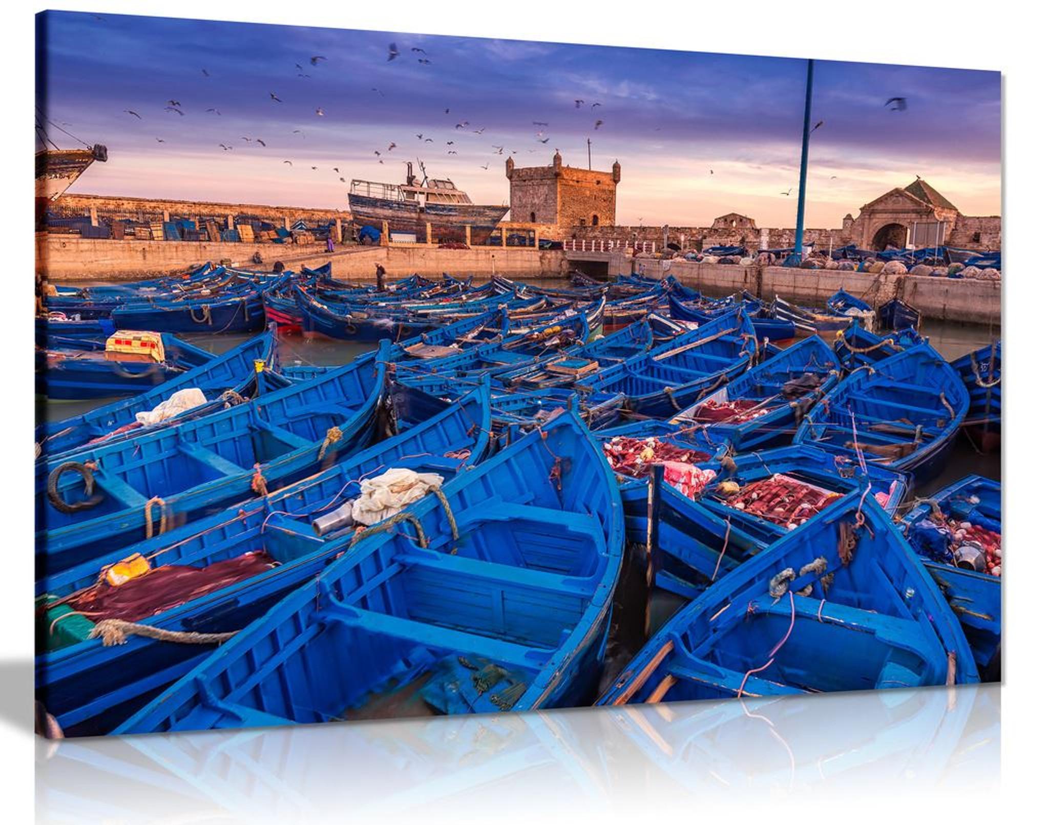 Essaouira Port Nautical Boats Canvas Wall Art Picture Print