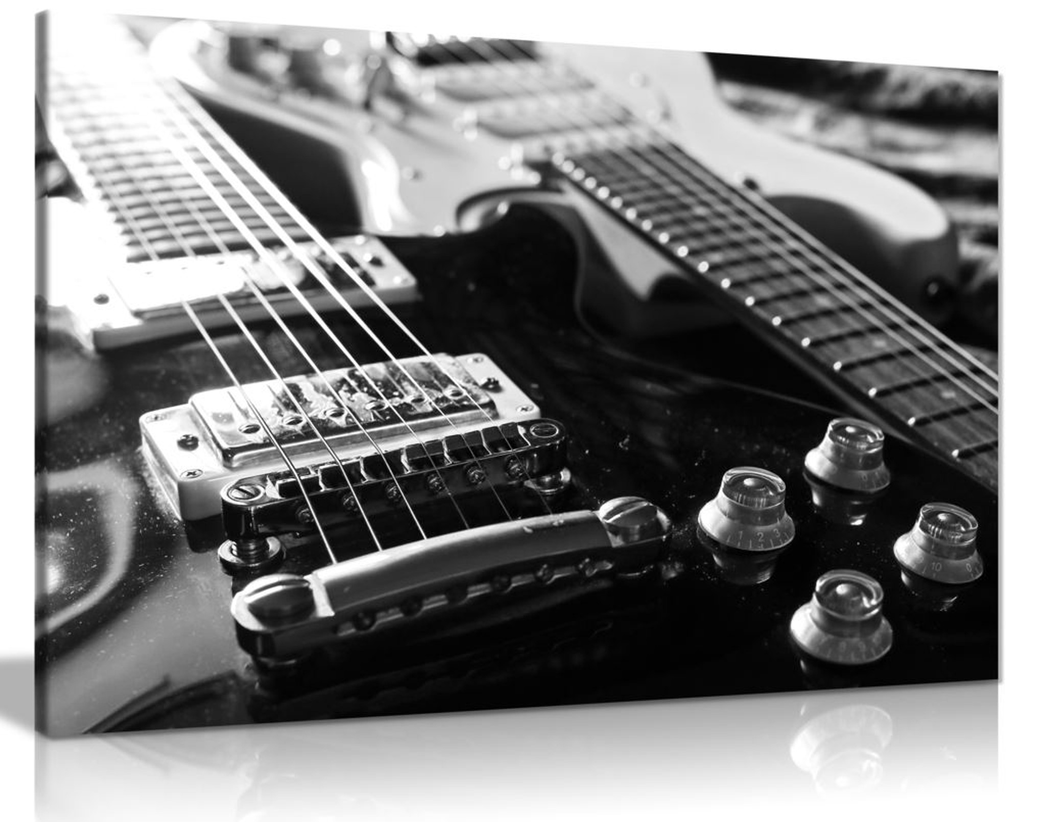 Electric Guitars Black & White Canvas Wall Art Picture Print