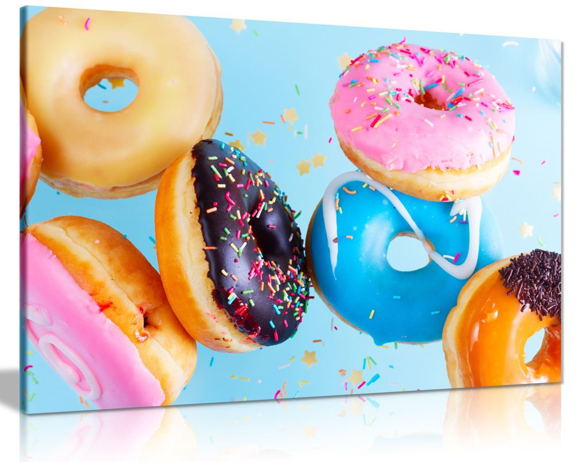 Colourful Brown Pink Blue Doughnut With Cream Food Canvas Wall Art Picture Print