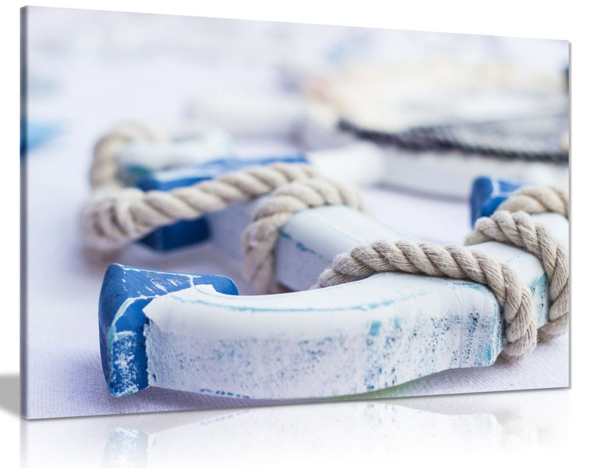Coastal Blue And White Wooden Anchor Bathroom Canvas Wall Art Picture Print