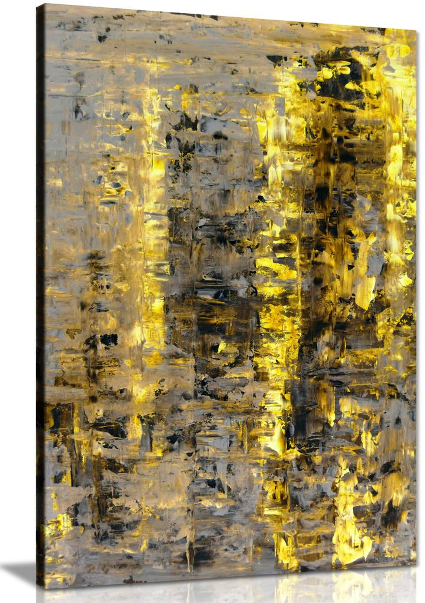 Brown Yellow Abstract Painting Canvas Wall Art Picture Print