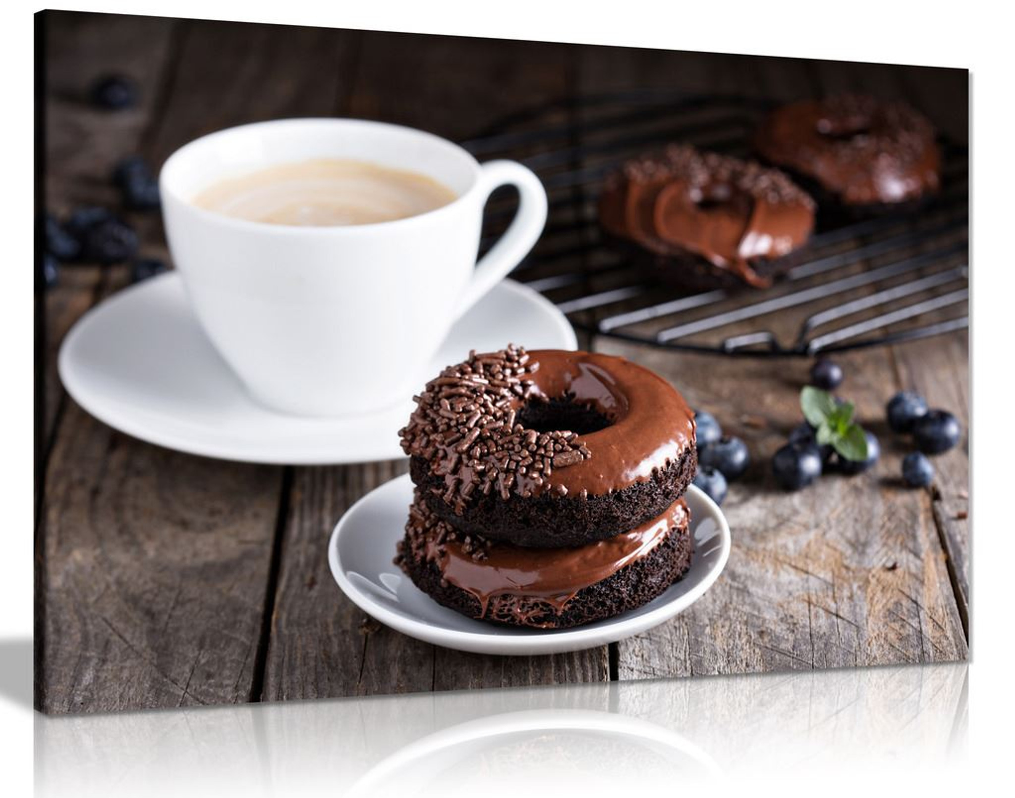 Brown A Cup Of Coffee Doughnut Canvas Wall Art Picture Print