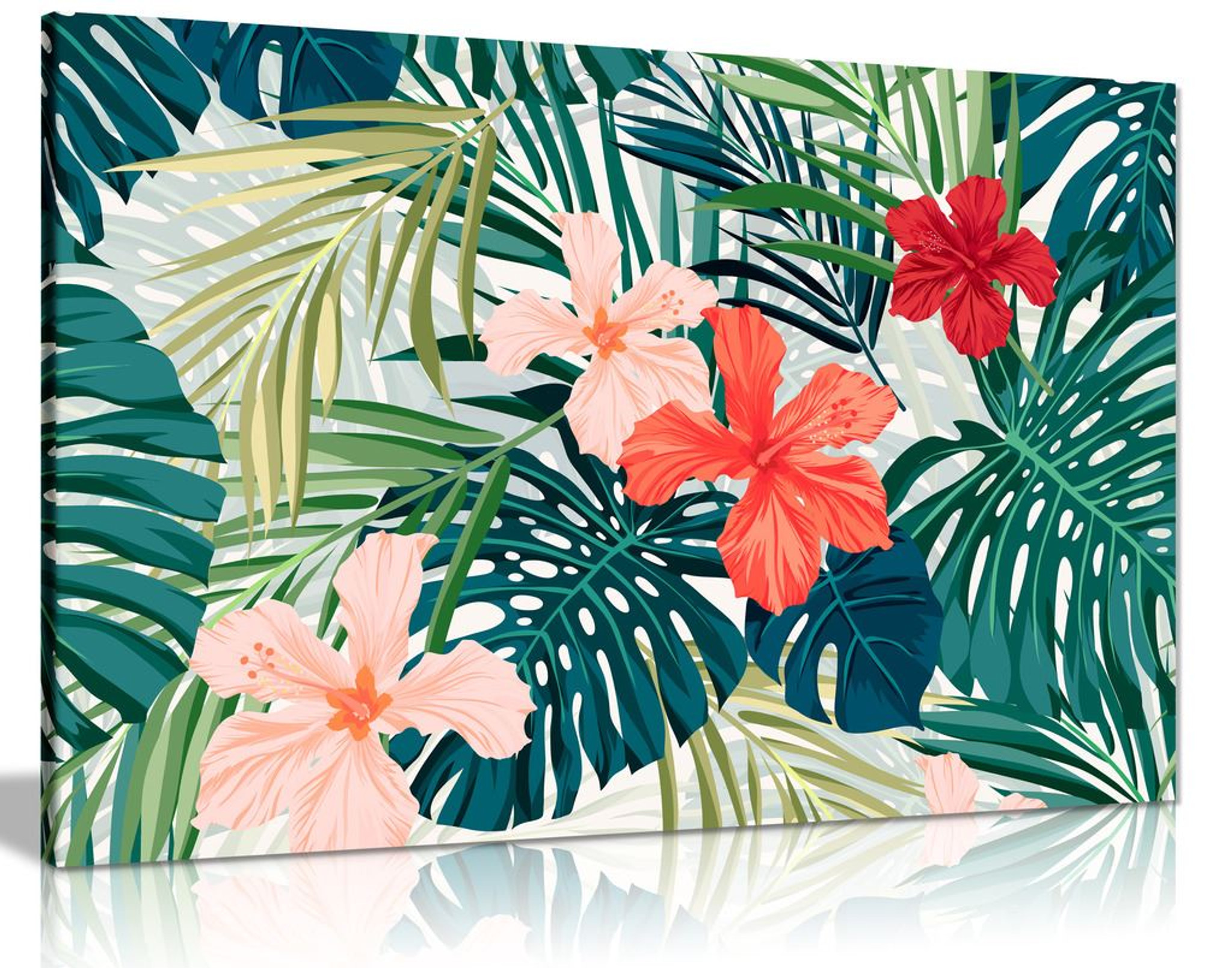 Botanical Jungle Palm Leaf Canvas Wall Art Picture Print