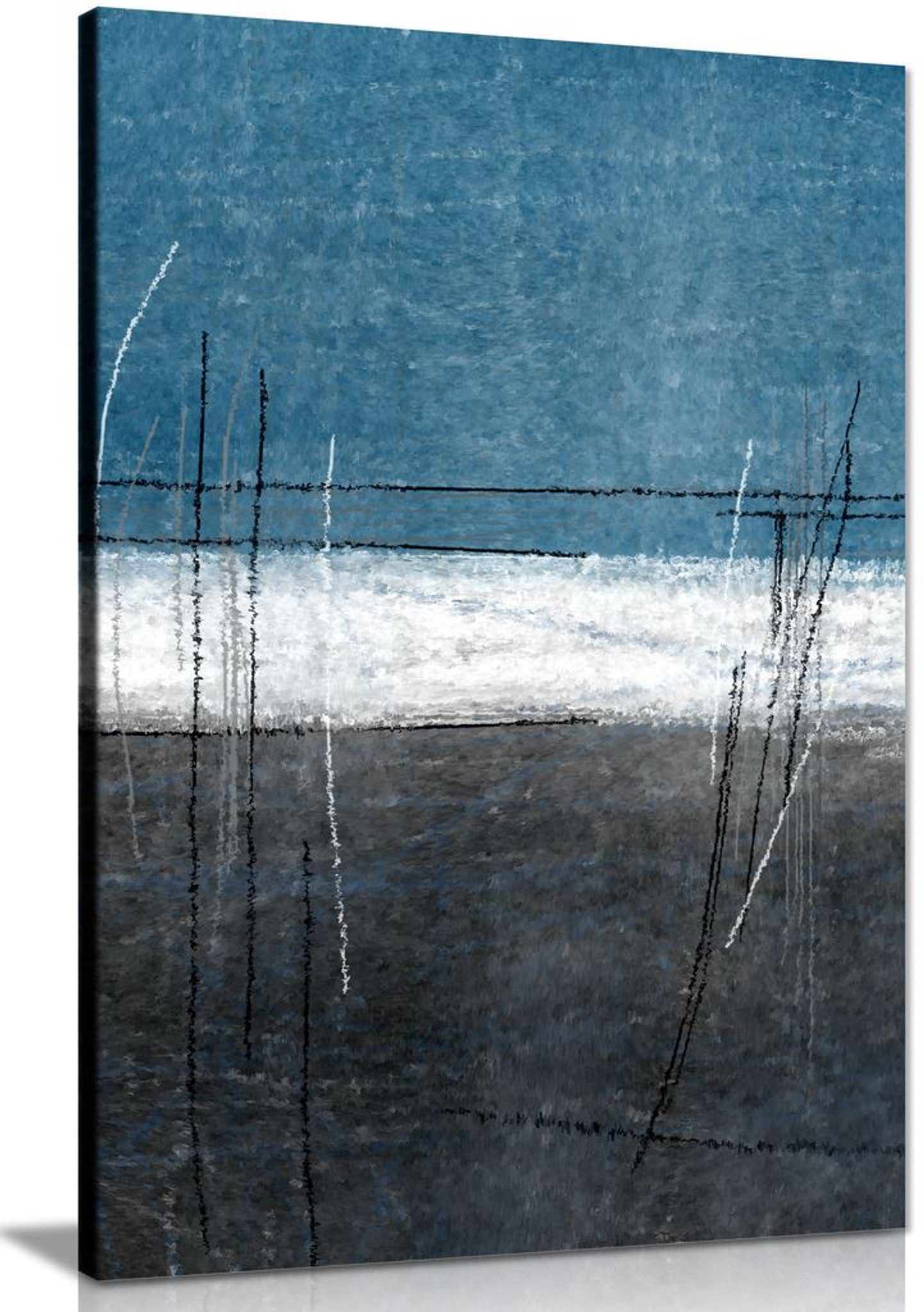Blue White Stripe Grey Abstract Canvas Wall Art Picture Print