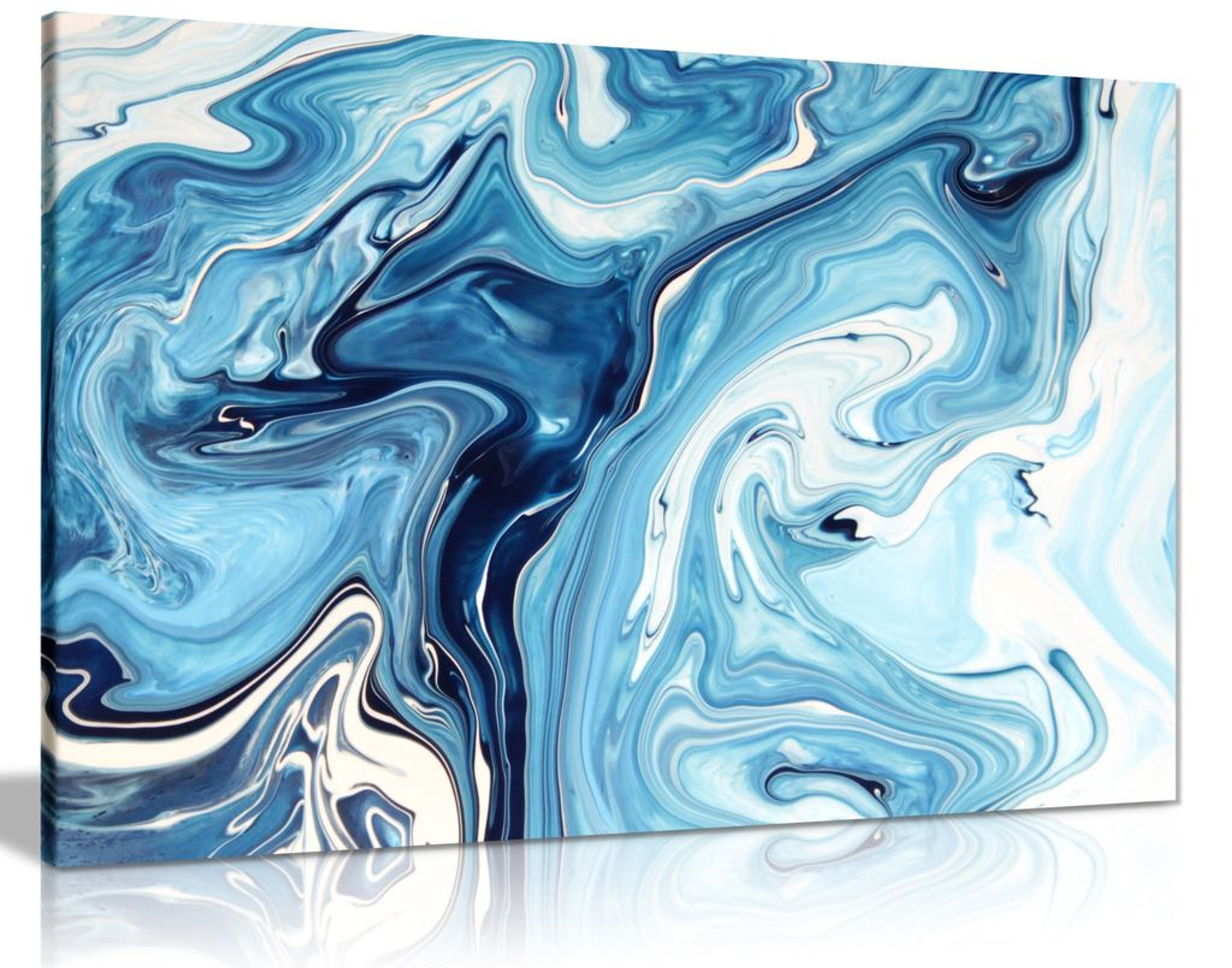 Blue White Liquid Marble Modern Canvas Wall Art Picture Print