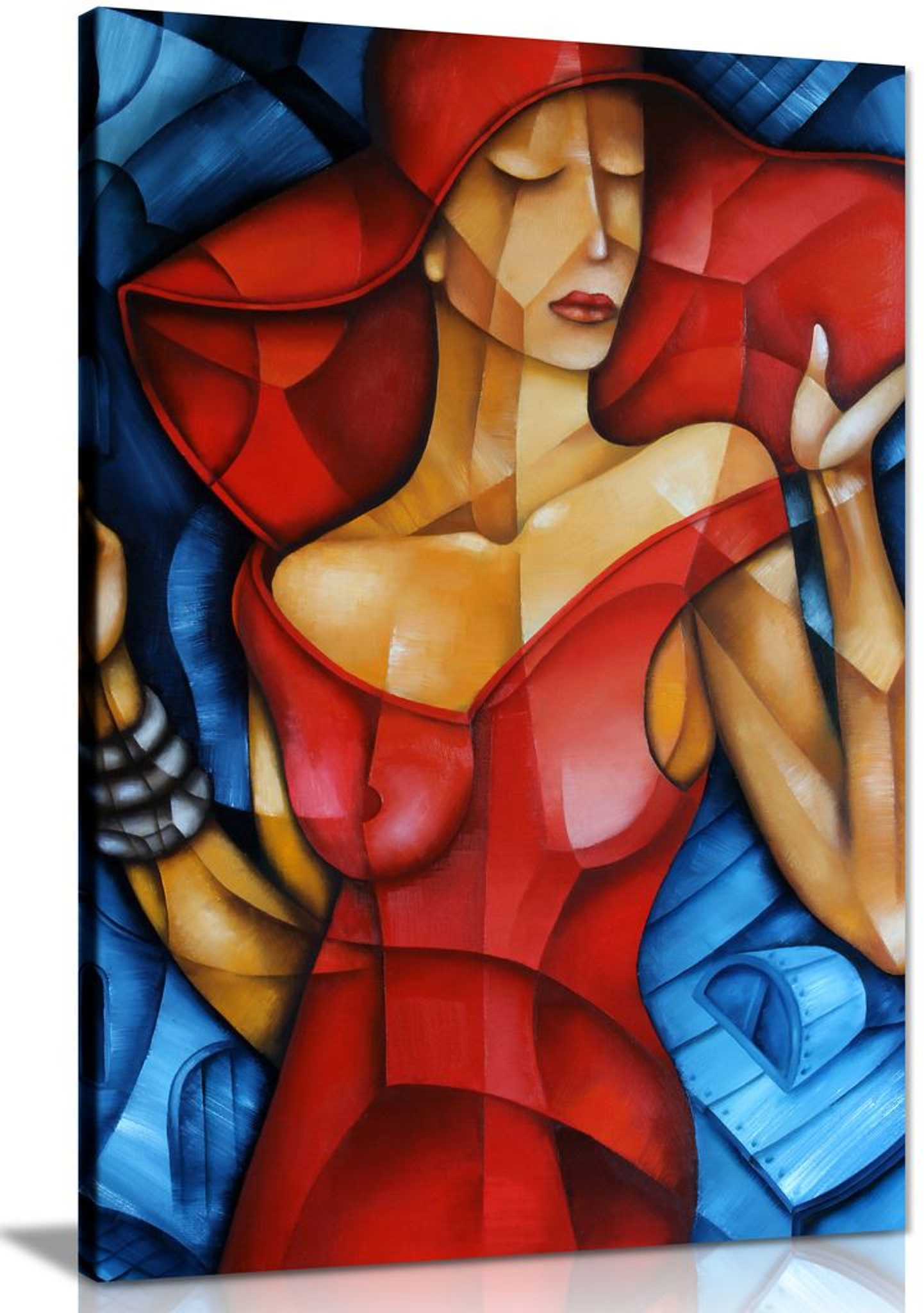 Blue Red Elegant Woman Cubsim Modern Canvas Wall Art Picture Print