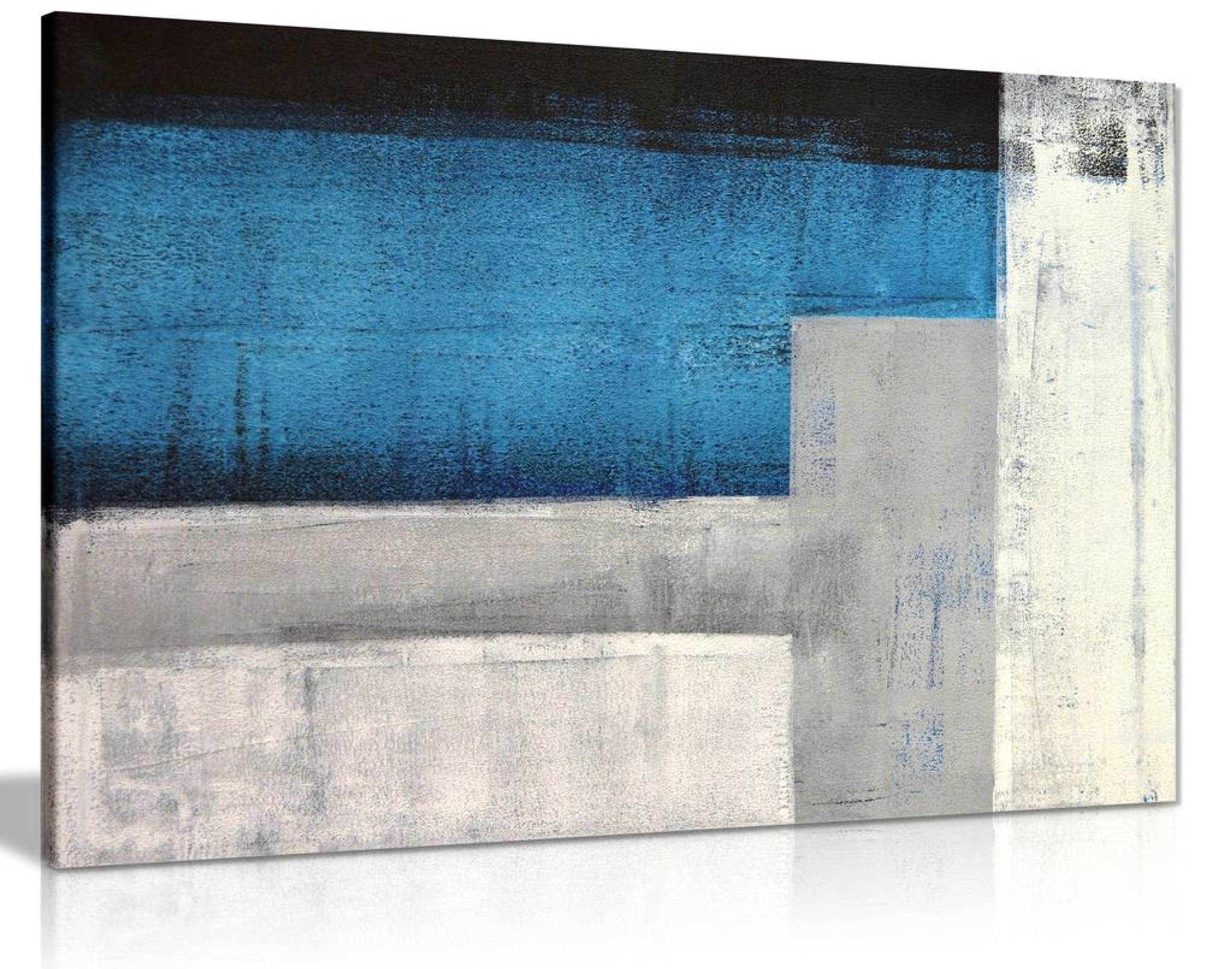 Blue Grey & White Abstract Painting Canvas Wall Art Picture Print