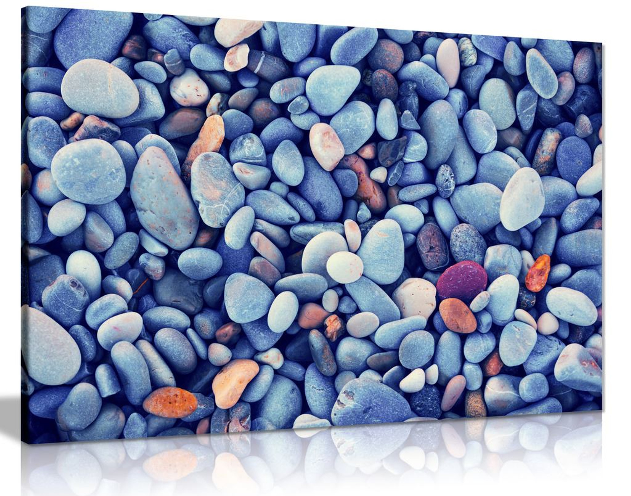 Blue Beach Pebbles Stones Canvas Wall Art Picture Print