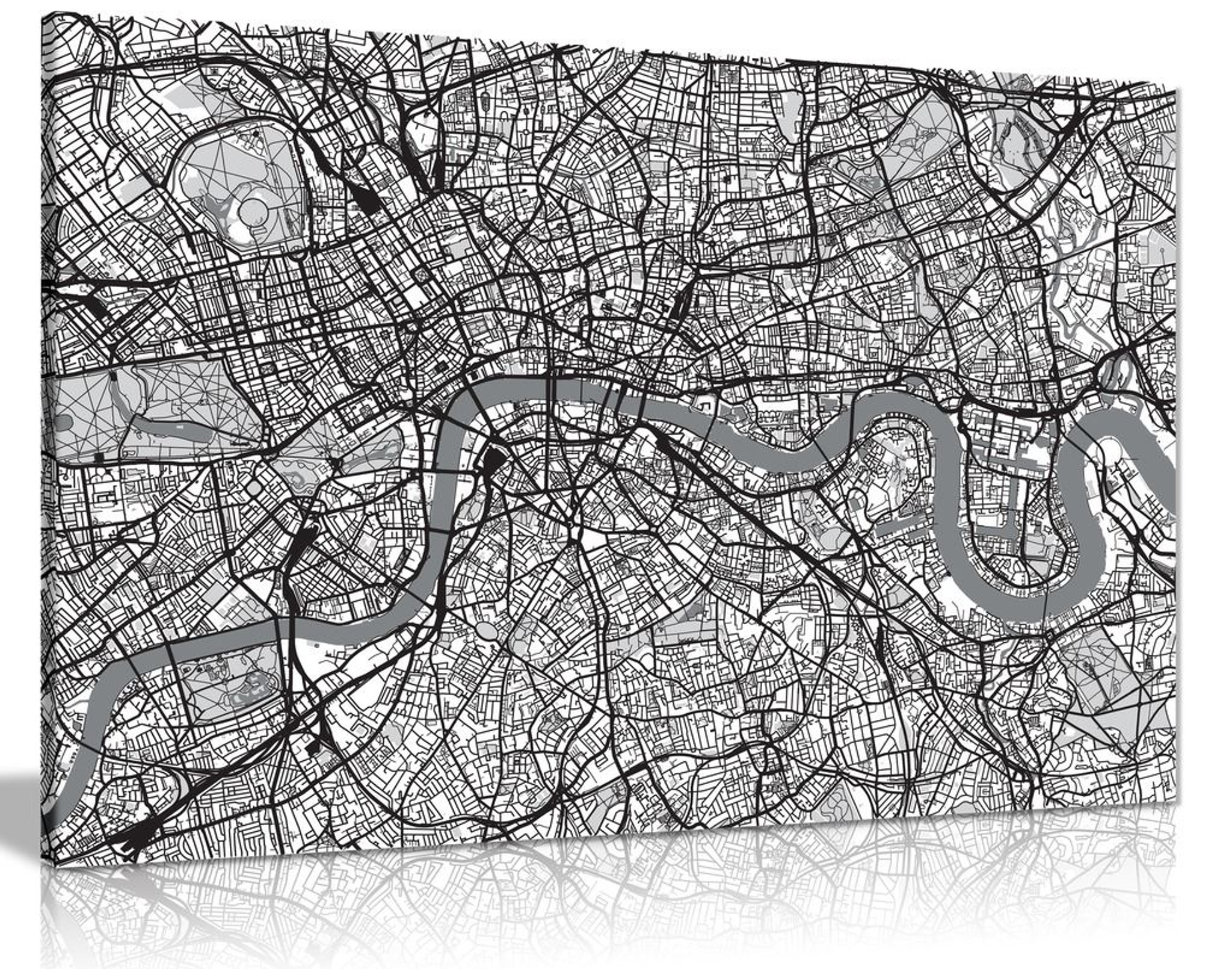 Black & White Map Of London Urban