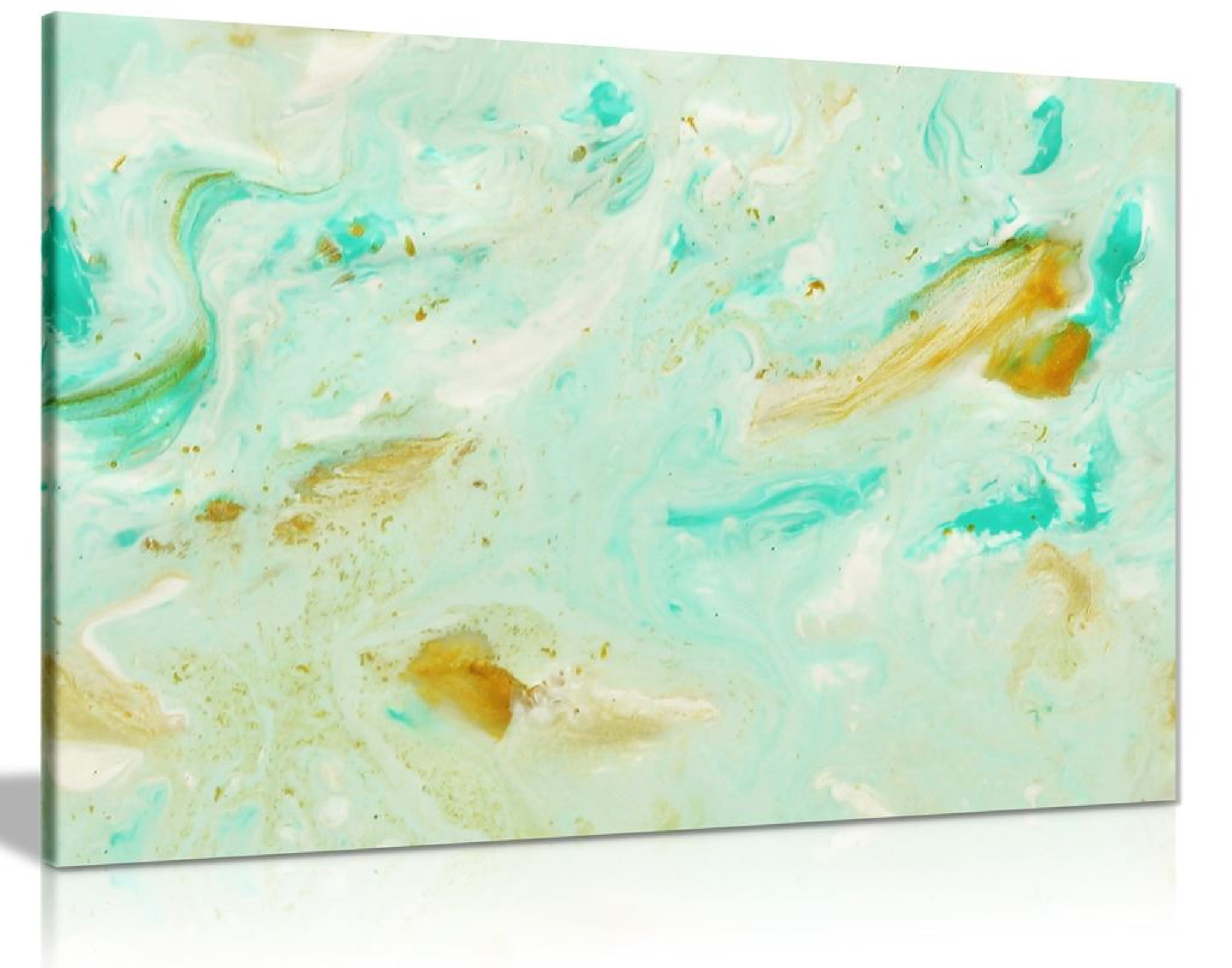 Abstract Marble Pastel Blue Mint Gold Canvas Wall Art Picture Print