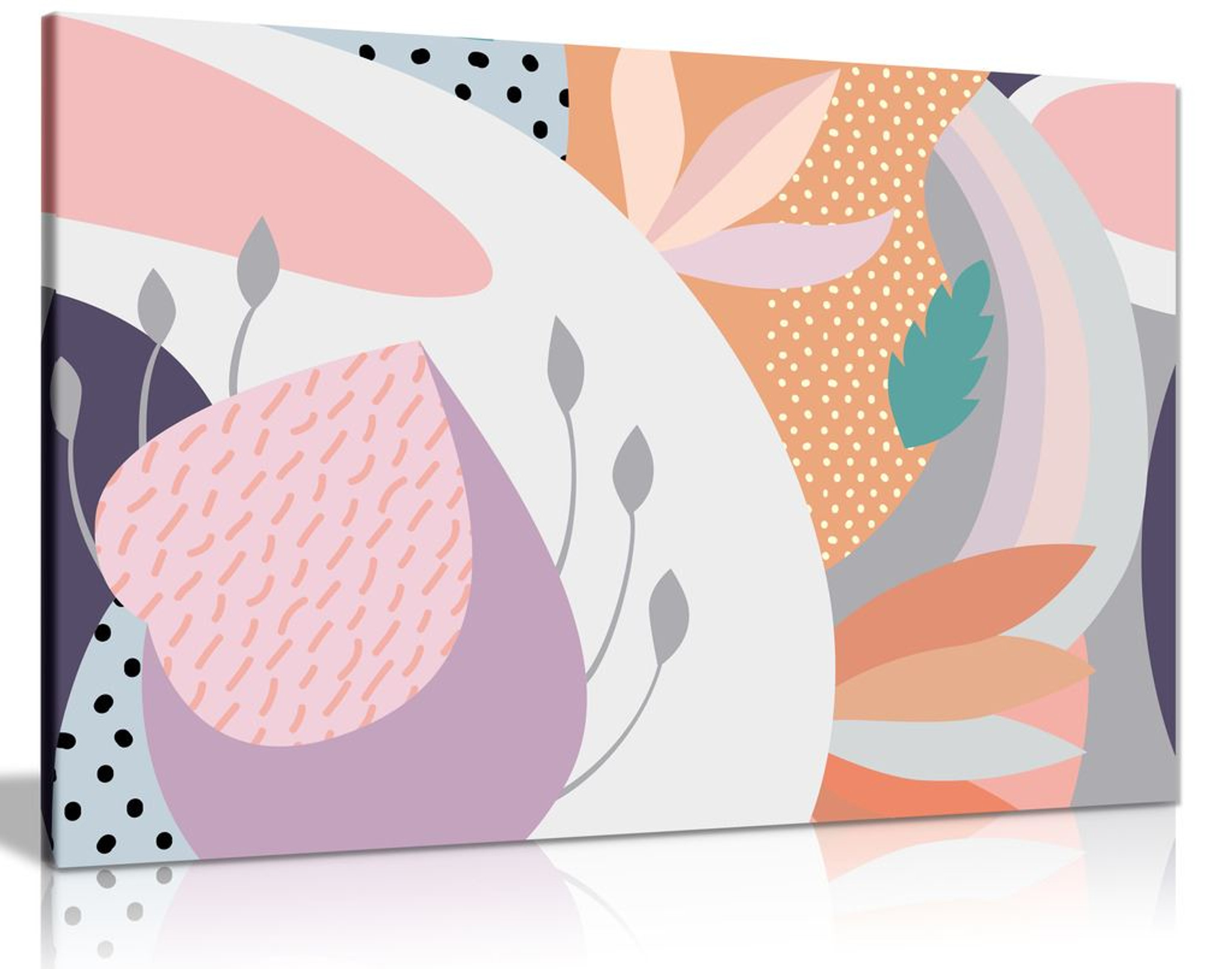 Abstract Scandi Tropical Pattern Canvas Wall Art Picture Print
