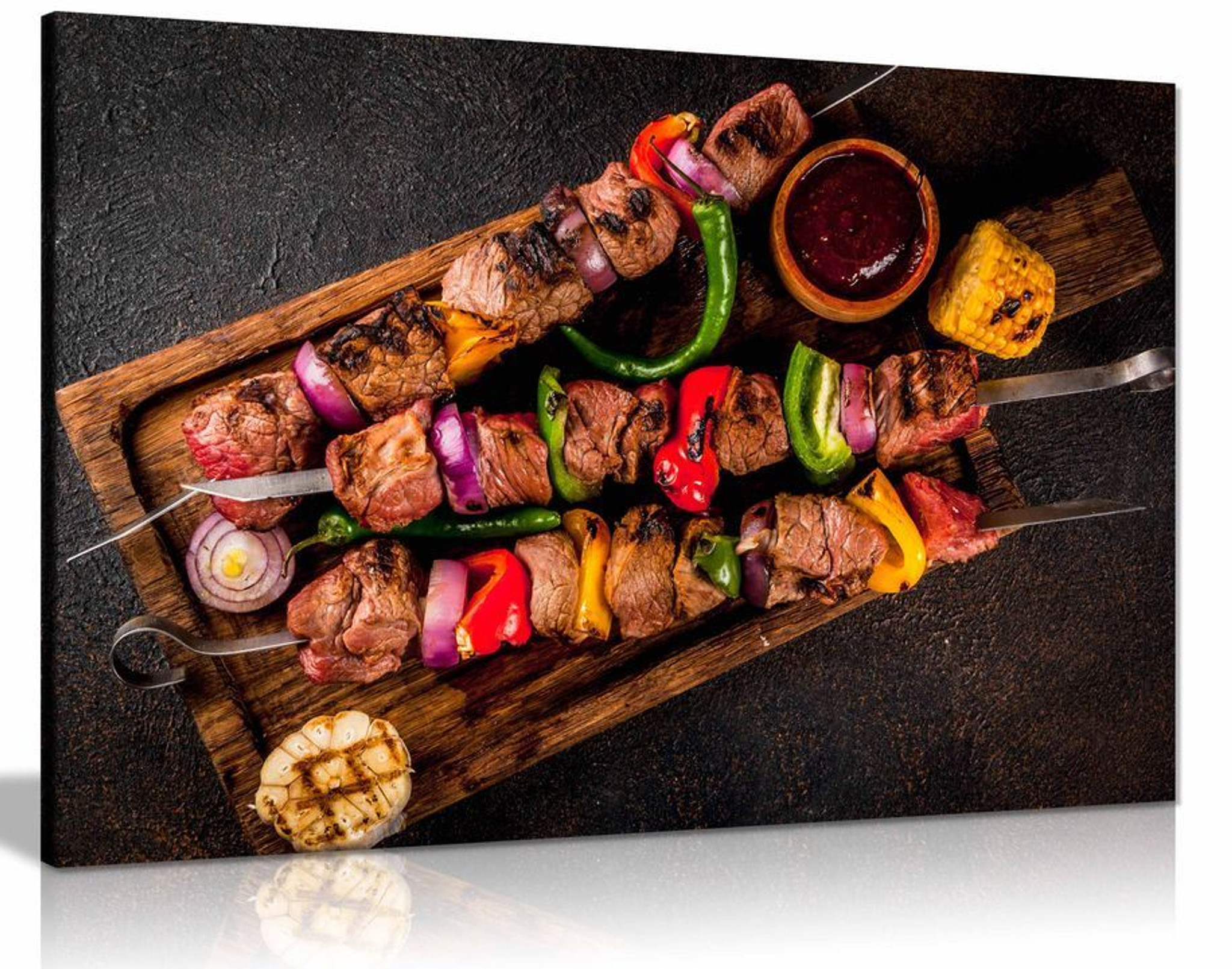 Beef Shish Kebab Grill Turkish Restaurant Kabob Food Canvas Wall Art Picture Print Home Decor