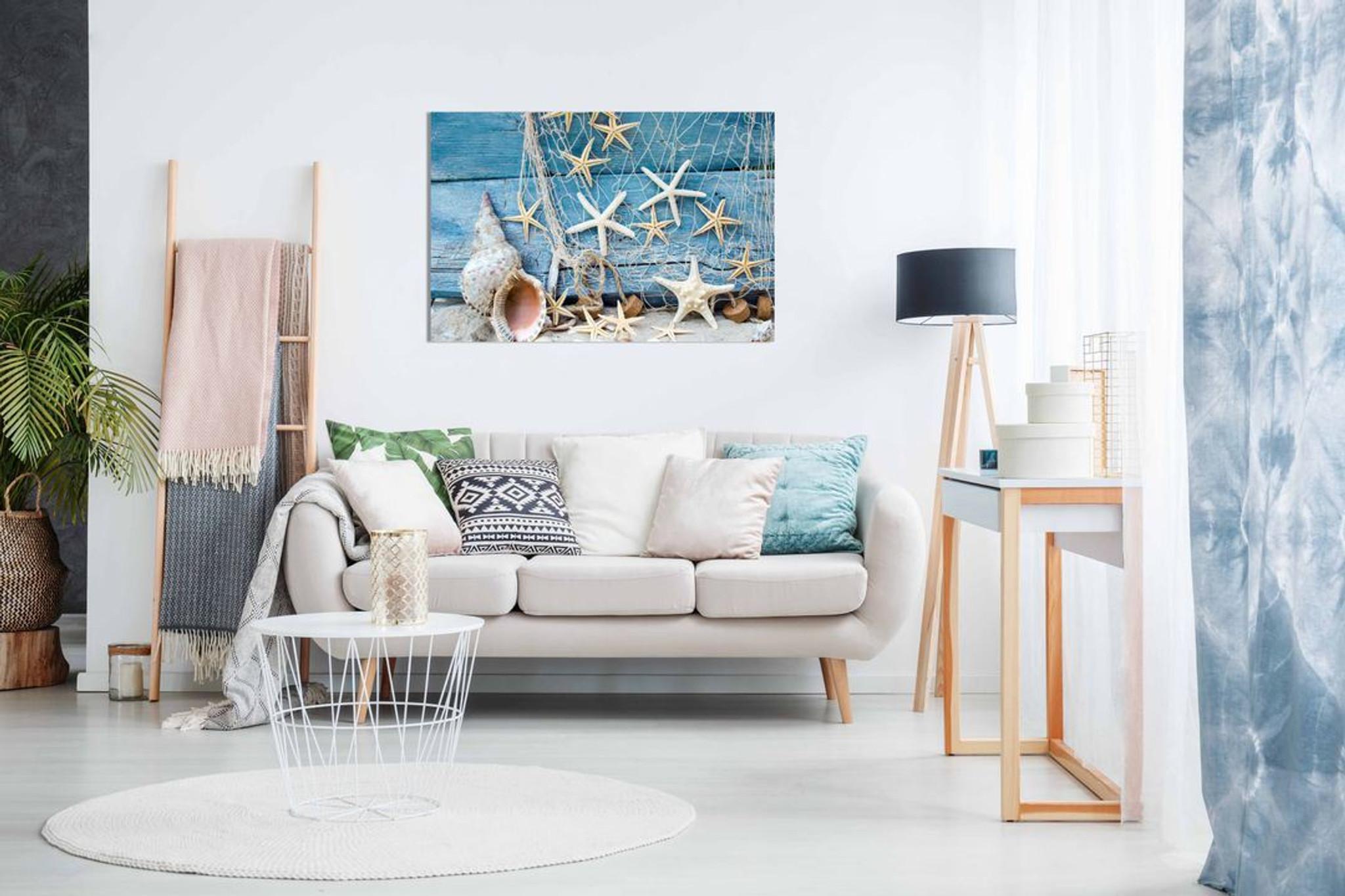 Blue Maritime Sea Bathroom Canvas Wall Art Picture Print Home Decor