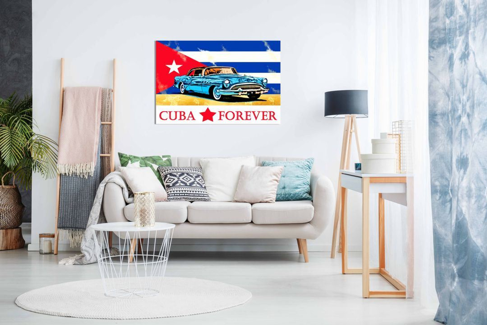 Cuban Flag & Car Canvas Wall Art Picture Print Home Decor