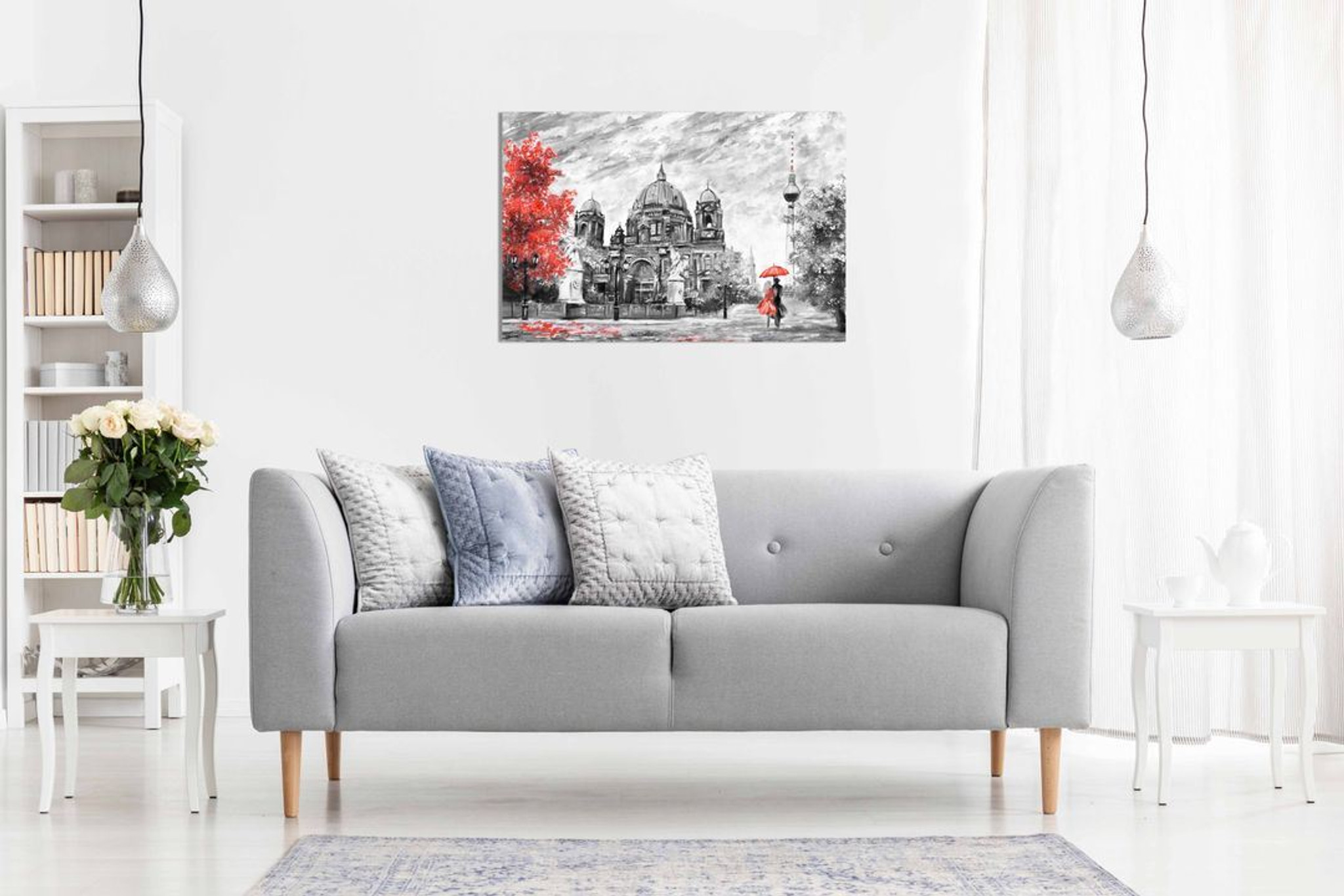 Germany Berlin Oil Painting Artwork Reproduction Red Umbrella Canvas Wall Art Picture Print Home Decor